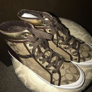 Coach Shoes - Coach Khaki and Gold Sneakers size 11